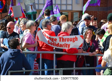 Reading, Berkshire / England UK - September 20th 2019: Protesters holding up their signs to make their voices heard at the climate change protest in Reading, Berkshire UK.