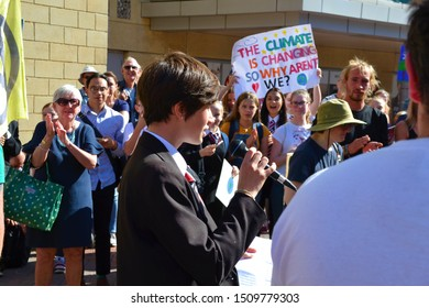 Reading, Berkshire / England UK - September 20th 2019: young student holding a speech at the climate change protest in Reading, Berkshire, UK