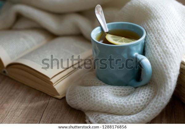 Reading Book Cup Hot Tea Lemon Stock Photo (Edit Now) 1288176856