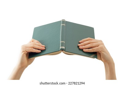 Reading book on white background