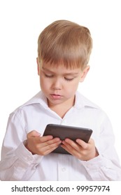 Reading boy with electronic book. Isolated on white