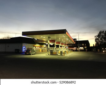 READING - DECEMBER 4: The floodlit forecourt of Shell Petrol Station on the A327 Arborfield Road on December 4, 2016 in Reading, UK.
