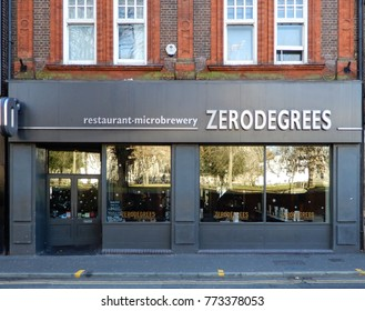 Reading, England - December 01 2017:   ZeroDegrees micro brewery and pub in Bridge Street, Reading