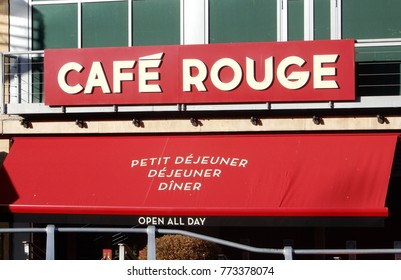 Reading, England - December 01 2017:   Frontage for Cafe Rouge, Oracle Waterside, Reading