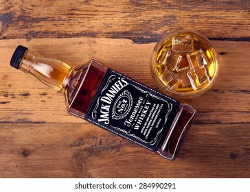 "READING ENGLAND  JUNE  7. 2015.Photo of bottle of ""Jack Daniel's"" Tennessee whiskey.Jack Daniel's is a brand of sour mash Tennessee whiskey that is the highest selling American whiskey in the world"