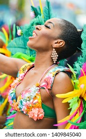 READING, ENGLAND - MAY 27,2019:  The annual Reading Caribbean Carnival  on May 27,2019 in Reading, England. The event has been held since 1977 and attracts hundreds of participants.