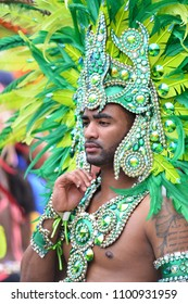 READING, ENGLAND - MAY 28,2018:  The annual Reading Caribbean Carnival  on May 28,2018 in Reading, England. The event has been held since 1977 and attracts hundreds of participants.