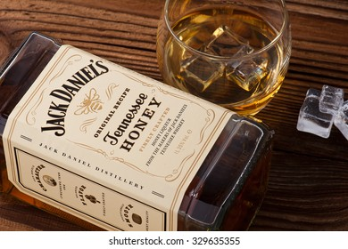 READING ENGLAND OCTOBER 17. 2015.Bottle of Jack Daniel's Honey Tennessee whiskey.Jack Daniel's is a brand of sour mash Tennessee whiskey that is the highest selling American whiskey in the world