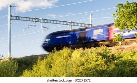 Reading, England, UK - August 29, 2016: A First Great Western Intercity 125 express train at Goring in Berkshire, under new electrification equipment which will soon see these diesel trains retired.
