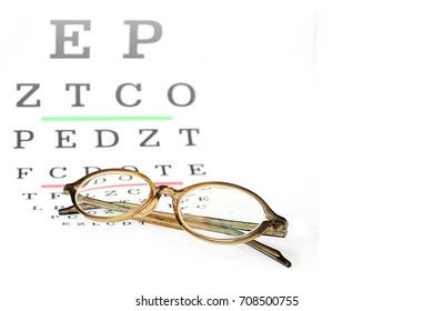 reading eyeglasses on eye chart exam background with space for edit text.