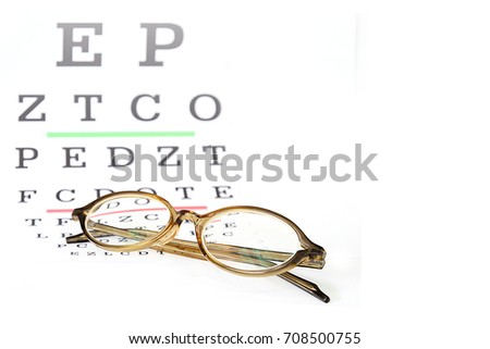 Reading Eyeglasses On Eye Chart Exam Stock Photo Edit Now