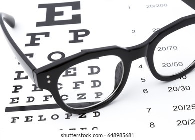 Reading glasses with eye chart isolated on white.