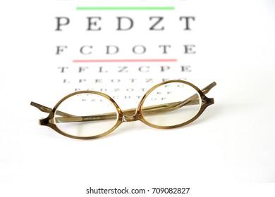 reading glasses fitting Farsighted lens  on eye exam chart background.