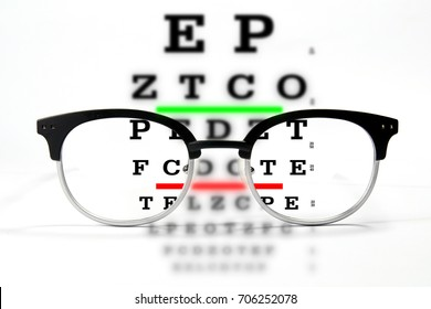 Reading glasses with vision acuity chart exam on white background