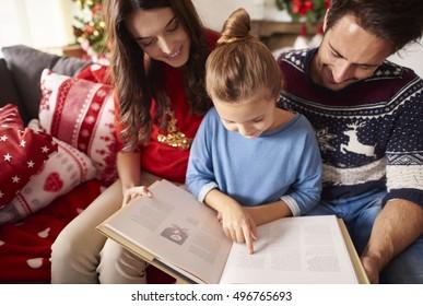 Reading interesting stories at Christmas