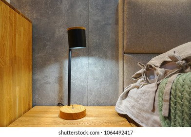 Reading lamp near bed