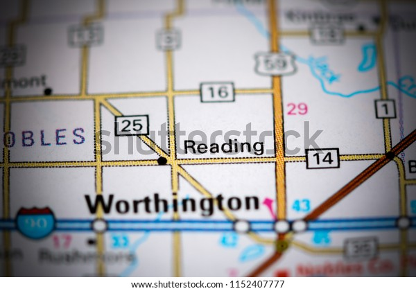 Reading. Minnesota. USA on a map