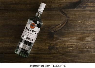 "READING MOLDOVA APRIL 10. 2016 Photo of bottle of ""Bacardi""  CARTA BLANCA Superior white rum. Editorial."