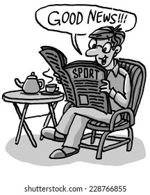 Reading the Newspaper - Doodle