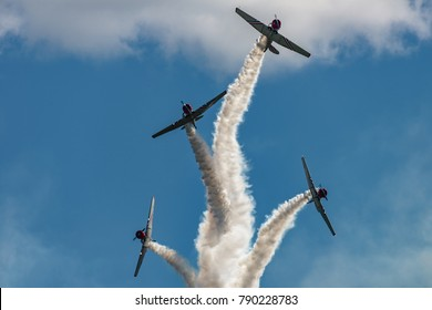 READING, PA - JUNE 3, 2017: The GEICO Skytypers in flight during World War II reenactment at Mid-Atlantic Air Museum