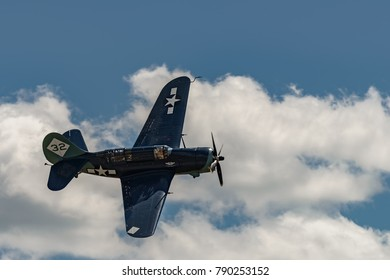 "READING, PA - JUNE 3, 2017: CURTISS-WRIGHT SB2C-5 ""HELLDIVER""in flight during World War II reenactment at Mid-Atlantic Air Museum"