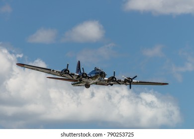 READING, PA - JUNE 3, 2017: BoeningB-17G Flying Fortress'Yankee Lady' in flight during World War II reenactment at Mid-Atlantic Air Museum