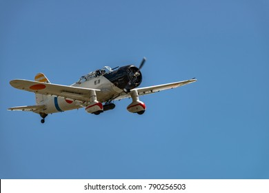"READING, PA - JUNE 3, 2017: AICHI D3A1 ""VAL""n flight during World War II reenactment at Mid-Atlantic Air Museum"