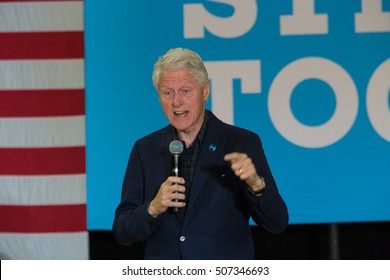Reading, PA - October 28, 2016: Former President Bill Clinton speaking at a campaign stop for his wife Hillary at Albright College.