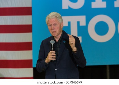 Reading, PA - October 28, 2016: Former US President Bill Clinton campaigns at a rally for his wife Hillary at Albright College.