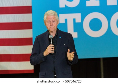 Reading, PA - October 28, 2016: Former President Bill Clinton campaigns at a Democrat rally for his wife Hillary at Albright College in Berks County.