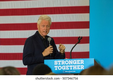 Reading, PA - October 28, 2016: Former US President Clinton campaigns at a Democrat rally for his wife Hillary at Albright College.