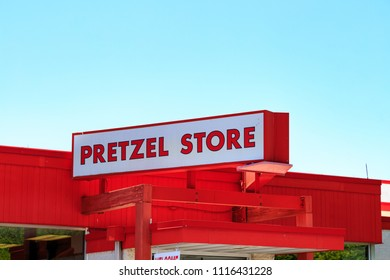 Reading, PA, USA - June 14, 2018: The Pretzel Store at Tom Sturgis Pretzels, a commercial pretzel bakery near Shillington, Berks County, PA.