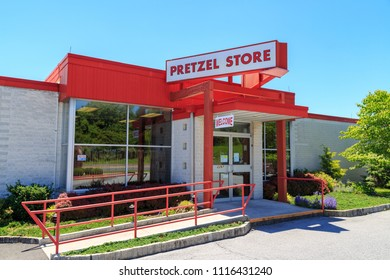 Reading, PA, USA - June 14, 2018: The Pretzel Store Entrance at Tom Sturgis Pretzels, a commercial pretzel bakery near Shillington, Berks County, PA.