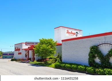 Reading, PA, USA - June 14, 2018: Tom Sturgis Pretzels, a commercial bakery near Shillington, Berks County, PA.