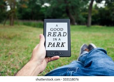 Reading in park.