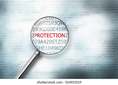 reading protection on digital computer screen with a magnifying glass internet security