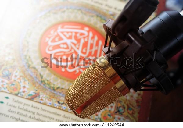 Reading Recite Quran Islamic Holy Book Stock Photo (Edit Now