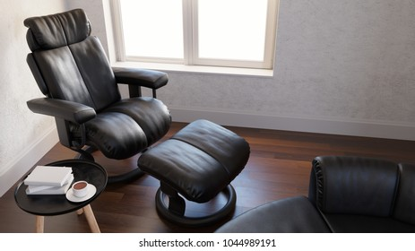 Reading room with black leather arm chair 3d rendering