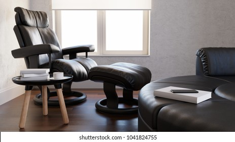 reading room with leather armchair 3d rendering