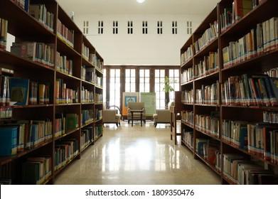 reading room with neatly arranged bookshelves in the Mandiri Bank library building, Jalan Darmo, Surabaya, East Java, indonesia (surabaya, september 9 2019)