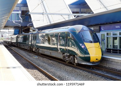 Reading, UK. 16th September 2018. A GWR Class 800 Intercity Express Train running on electric power is in the station at Reading on the Great Western Mainline awaiting a departure to London Paddington