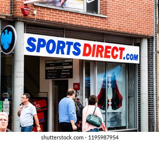 Reading, UK. 5th October 2018. Logo of Sports Direct International plc -SportsDirect.com on the facade of the store. Company is the UK's largest sports-goods retailer