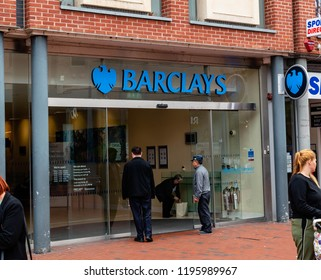 Reading, UK. 5th October 2018. The front of Barclays Bank on Broad Street