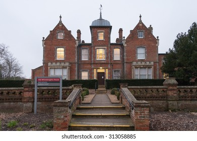 READING, UK - CIRCA MARCH 2015: The Graduate School at University of Reading, called the Old Whiteknights House, is a modernised Victorian buildin.