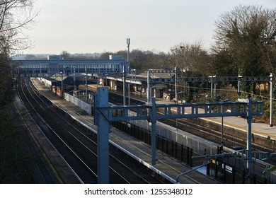 Reading, UK - December 12th 2018: Twyford Railway Station one of the London commuter stations affected by delays to the new Crossrail upgrade work.