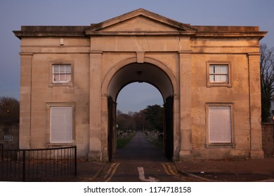 Reading, Uk - December 2016: Entrance arch of Cemetery Junction.