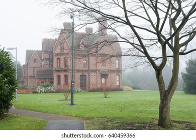 READING, UK - JANUARY 2017: Foxhill House in the Reading University Park on a foggy day.