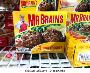 Reading, UK - July 29 2019: Boxes of Mr Brain's faggot on a shelf in a supermarket freezer.
