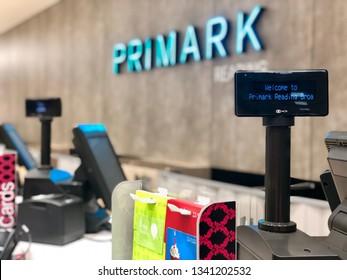 READING, UK - MARCH 17, 2019: Checkout tills for at Primark in Reading, UK.