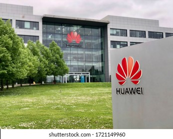 READING, UK - MAY 3, 2020: The regional office campus of Chinese telecoms company Huawei on Green Park business park in Reading, Berkshire, UK.
